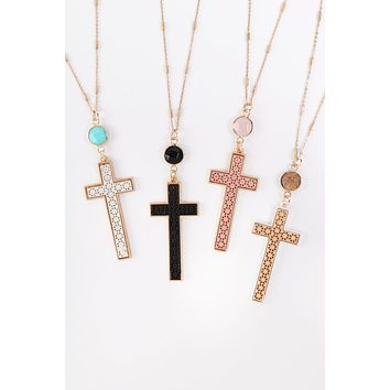 MYN1370 - CROSS WITH NATURAL STONE PENDANT CHAIN NECKLACE