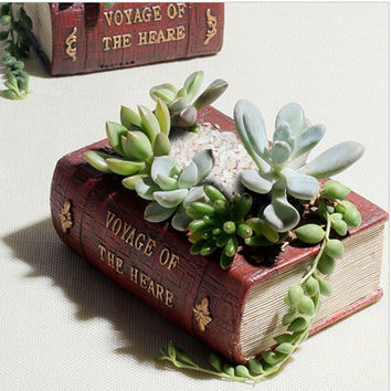 Vintage Books Pots | Creative Resin Material Flower Fairy Garden Cacti Flower Landscape Pot Planter Decoration Home DIY Office Table Wedding