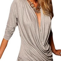 On A Roll Grey Olive Green Long Sleeve Cross Wrap V Neck Draped Ruched Asymmetric Bodycon Mini Dress