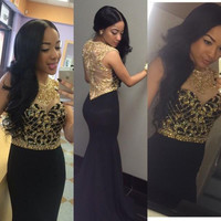 Shinning Gold Black Prom Dresses Mermaid Satin Beaded Crystals Beautiful Prom Dress African Sequin Sexy Prom Party Dresses RM81