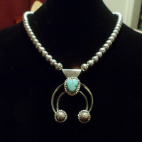 Authentic Navajo,Native American,Southwestern sterling silver and beads, sleeping beauty turquoise Naja pendant/necklace