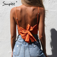 Belt lace up camisole tank top tees women Summer beach bow female cami crop top Sexy backless sleeveless short top