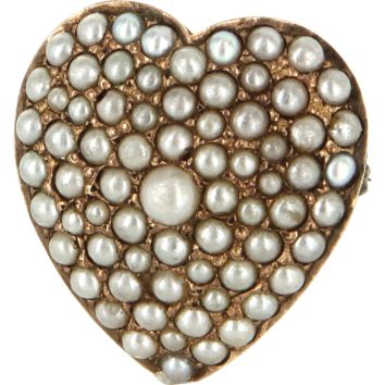 Antique Victorian Heart Pave Seed Pearl 14 Karat Rose Gold Pendant Brooch Pin