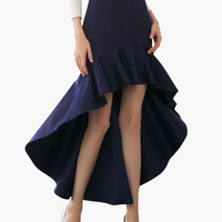 Navy Blue Long Back Ruffled Skirt