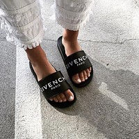 Givenchy Slide Flat Sandals In Black Rubber