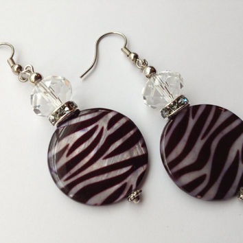 Zebra Stripe Hook Earrings, Flat Round Shell Bead Clear Crystal Silver Drop Earrings
