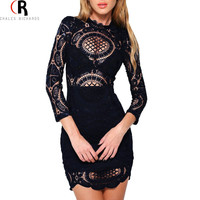 Black White Lace Crochet Bodycon Fall Dress Three Quarter Sleeve Hollow Out See through Sexy 2016 Spring Women Clothing