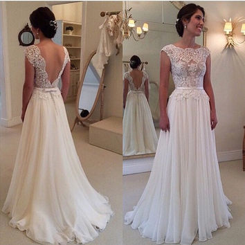 Scoop Backless Lace Patchwork Long Prom Dresses