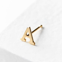 18k Gold + Sterling Silver Initial Post Earring   Urban Outfitters