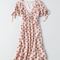 AEO Knotted Deep-V Dress, Blush
