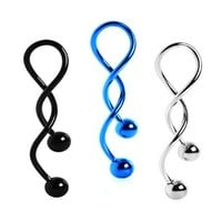 BodyJ4You Belly Button Ring Spiral Navel Kit Super Twister Black Blue Steel Lot of 3 Pieces