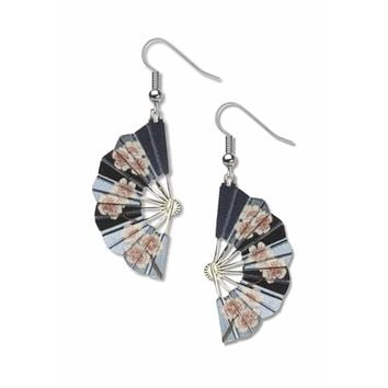 Hiroshige Blossom Fans Earrings | Solid Brass Electroplated with Non-Tarnishing Silver Finish, Giclee Print