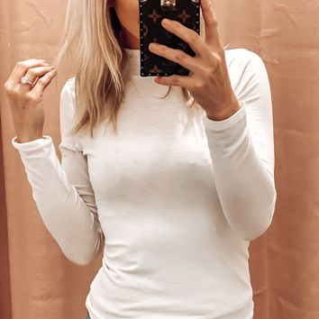 KEEP ME WARM MOCK NECK TOP IN WHITE