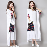 Fashion Splicing Robes For Women Large Size Round Neck Short Sleeve Cotton Linen Batwing Maxi Dress Summer 2016 New