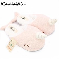 Pantuflas Mujer Mulher Chinelo Donna Pantofole Animal Winter Soft Bottom Indoor Plush Home Unicorn Slippers Narwhal Shape Shoes