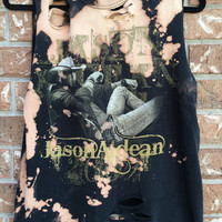 JASON ALDEAN // grunge tank // super soft //cropped tee// distressed// country tank, bleached tank