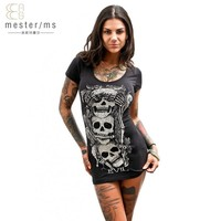 O-Neck Print Skulls Slim Short Above Knee Mini Dress Fashion casual Nightclub Party