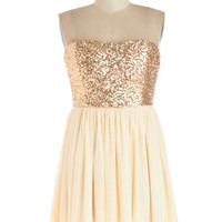 ModCloth Short Strapless Ballerina On the Champagne Trail Dress