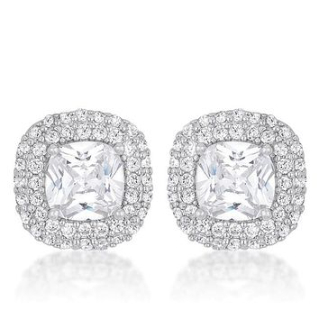 Burke 2ct Cushion CZ Halo Stud Earrings | 5.5ct