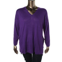 Eileen Fisher Womens Merino Wool V Neck Pullover Sweater