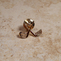 Golfer Golfing Vintage Tie Tack Lapel Pin Mens Formal Golf Clubs Ball Driver Putter Gold Tone Sports Retro Preppy Guys Gift Fathers Day