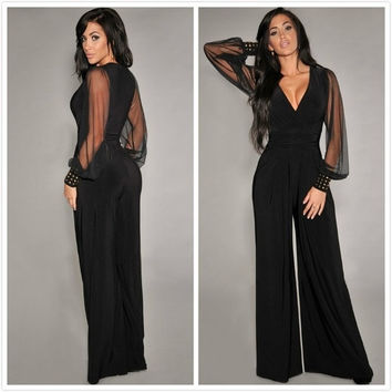 Women Fashion Black Embellished Cuffs Long Mesh Sleeves Jumpsuit (One Size) = 1958358468