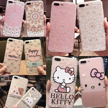 Lovely Cartoon Hello Kitty Case for Iphone 6 6S 6plus 7 7plus 8 8plus X Cute Bow Tpu Silicone Clear Back Cover Free Shipping