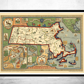 Old Map of Massachusetts 1930, Boston, Salem, Worcester,Lowell, Springfield