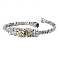 925 Silver Filigree Flower Scroll Bracelet with 18k Gold Accents- 7.5 or 8.5 IN