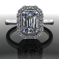 Forever Brilliant Moissanite and Diamond Simple Halo Engagement Ring 1.30 CTW