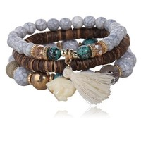3-Piece Stone and Wood Beads Elephant Charm Boho Bracelet Set