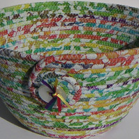 Coiled Fabric Basket, Coiled Fabric Bowl, decorative bowl, rainbow