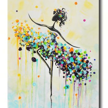 """GICLEE PRINT Art Abstract Painting Dancer Blue Aqua CANVAS Prints White Yellow Teal- Sizes to 60"""""""