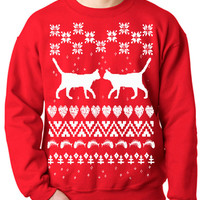 New Ugly Sweater Love Cats Flex Fleece Pullover Classic Sweatshirt - XS S M L XL and XXL (3 Color Options)
