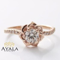 14K Rose Gold Diamond Engagement Ring 0.40ct Natural Diamond Flower Ring