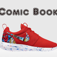 Custom Nike Roshe, Roshe Run, Comic Book , Roshe Run, Spider Man Red Roshe Run, Roshe Run, Red and White  Thor Roshe Run, Marvel Roshe Run