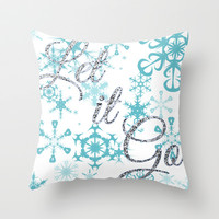 Let it Go - Frozen Throw Pillow by Lauren Ward