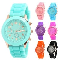 New Unisex Women Mens Boys Girls Geneva Silicone Jelly Sports Quartz Wrist Watch (With Thanksgiving&Christmas Gift Box)= 1945714756