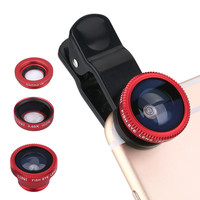 New 2015 Universal Mobile Phone Lenses 3 in 1 Wide Angle Macro Fish Eye Lens For iPhone 5S 6 Samsung S5 S6 HTC M9 LG Sony Silver