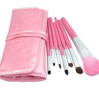 Roll up Case Cosmetic Brushes Kit 7 PCS Cosmetic Brushes Set with Pouch (Pink)