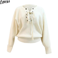 Women Cream Lace Up Front Long Sleeve Brief Knitted Sweater Drop Shoulder Pullover 2016 Spring Autumn Casual Slim Basic Knitwear