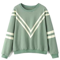 Green Stripe Long SLeeve Sweatshirt