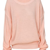 Plain Chunky Knit Oversized Fisherman Jumper in Baby Pink