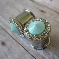 """One of a Kind Pair of Seafoam Point & Rhinestone Plugs - Mint - Handmade Unique Girly Gauges - 0g, 00g, 7/16"""", 1/2"""" (8mm, 10mm, 11mm, 12mm)"""