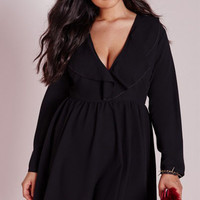 Black Plunging Long Sleeve Plus Size Skater Dress