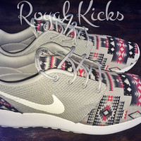 Tribal Aztec Gray Nike Roshe Run Custom Sneakers