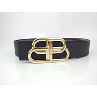 Balenciaga men's and women's black double B versatile belt
