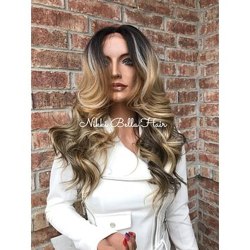 """Heather 20"""" Human Hair Blend Multi Parting Lace Front Wig"""