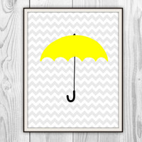 Yellow Umbrella - 11x14 Print - How I Met Your Mother - Chevron - other sizes available