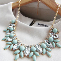 Mint Statement Fashion Necklace Turquoise
